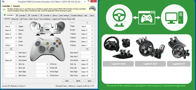 Use x360ce emulator with PC games